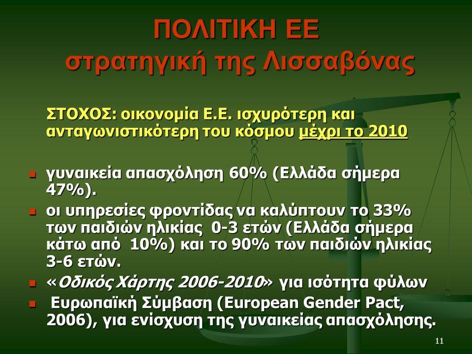 11 ΠΟΛΙΤΙΚΗ ΕΕ στρατηγική της Λισσαβόνας ΣΤΟΧΟΣ: οικονομία Ε.Ε.