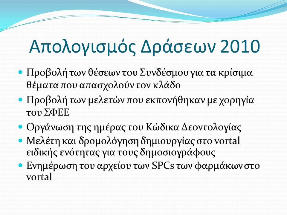 Απολογισμός Δράσεων 2010  Προβολή των θέσεων του Συνδέσμου για τα κρίσιμα θέματα που απασχολούν τον κλάδο  Προβολή των μελετών που εκπονήθηκαν με χορηγία του ΣΦΕΕ  Οργάνωση της ημέρας του Κώδικα Δεοντολογίας  Μελέτη και δρομολόγηση δημιουργίας στο vortal ειδικής ενότητας για τους δημοσιογράφους  Ενημέρωση του αρχείου των SPCs των φαρμάκων στο vortal