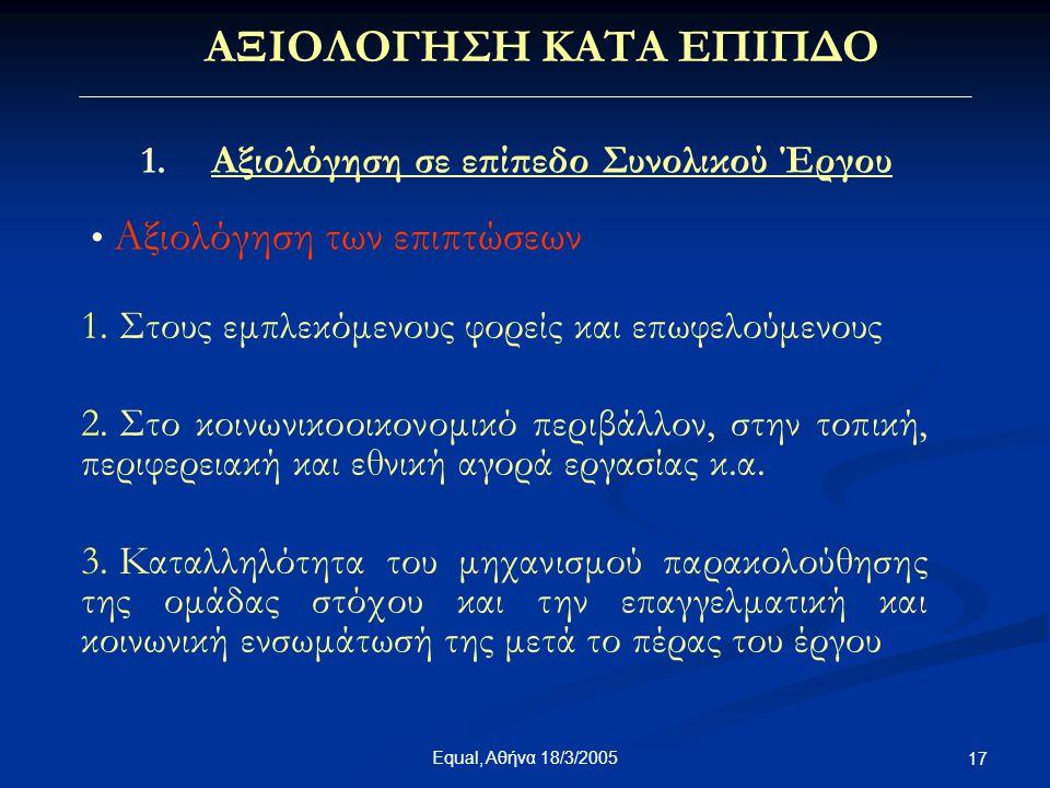 Equal, Αθήνα 18/3/2005 17 ΑΞΙΟΛΟΓΗΣΗ ΚΑΤΑ ΕΠΙΠΔΟ 1. Αξιολόγηση σε επίπεδο Συνολικού Έργου • Αξιολόγηση των επιπτώσεων 1. Στους εμπλεκόμενους φορείς κα