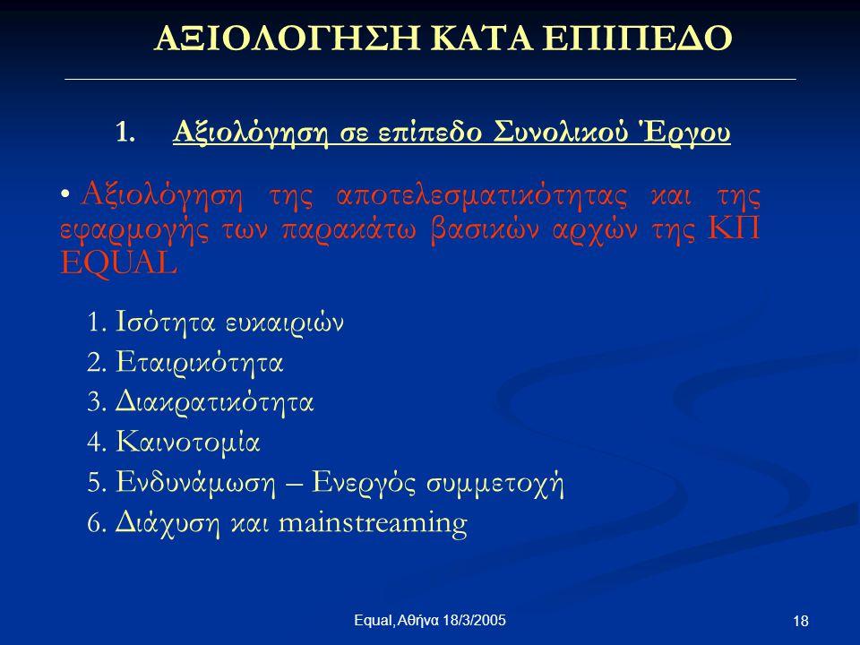 Equal, Αθήνα 18/3/2005 18 ΑΞΙΟΛΟΓΗΣΗ ΚΑΤΑ ΕΠΙΠΕΔΟ 1. Αξιολόγηση σε επίπεδο Συνολικού Έργου • Α• Αξιολόγηση της αποτελεσματικότητας και της εφαρμογής τ