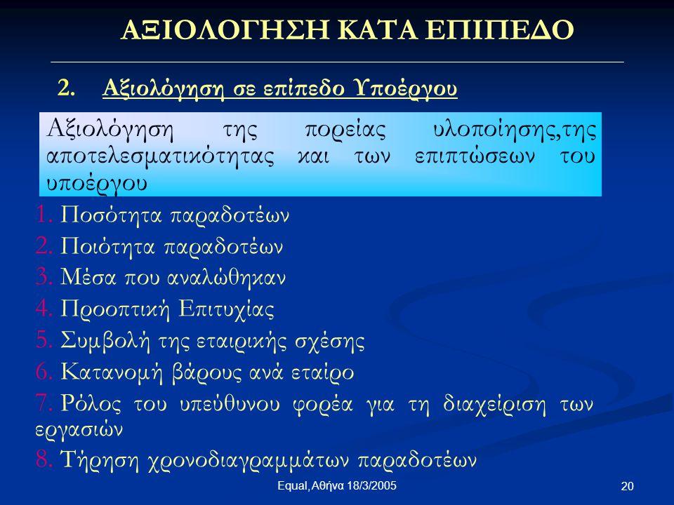 Equal, Αθήνα 18/3/2005 20 ΑΞΙΟΛΟΓΗΣΗ ΚΑΤΑ ΕΠΙΠΕΔΟ 2.Αξιολόγηση σε επίπεδο Υποέργου Αξιολόγηση της πορείας υλοποίησης,της αποτελεσματικότητας και των ε