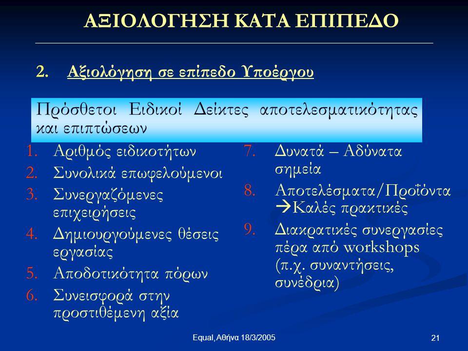 Equal, Αθήνα 18/3/2005 21 ΑΞΙΟΛΟΓΗΣΗ ΚΑΤΑ ΕΠΙΠΕΔΟ 2.Αξιολόγηση σε επίπεδο Υποέργου Πρόσθετοι Ειδικοί Δείκτες αποτελεσματικότητας και επιπτώσεων 1.Αριθ