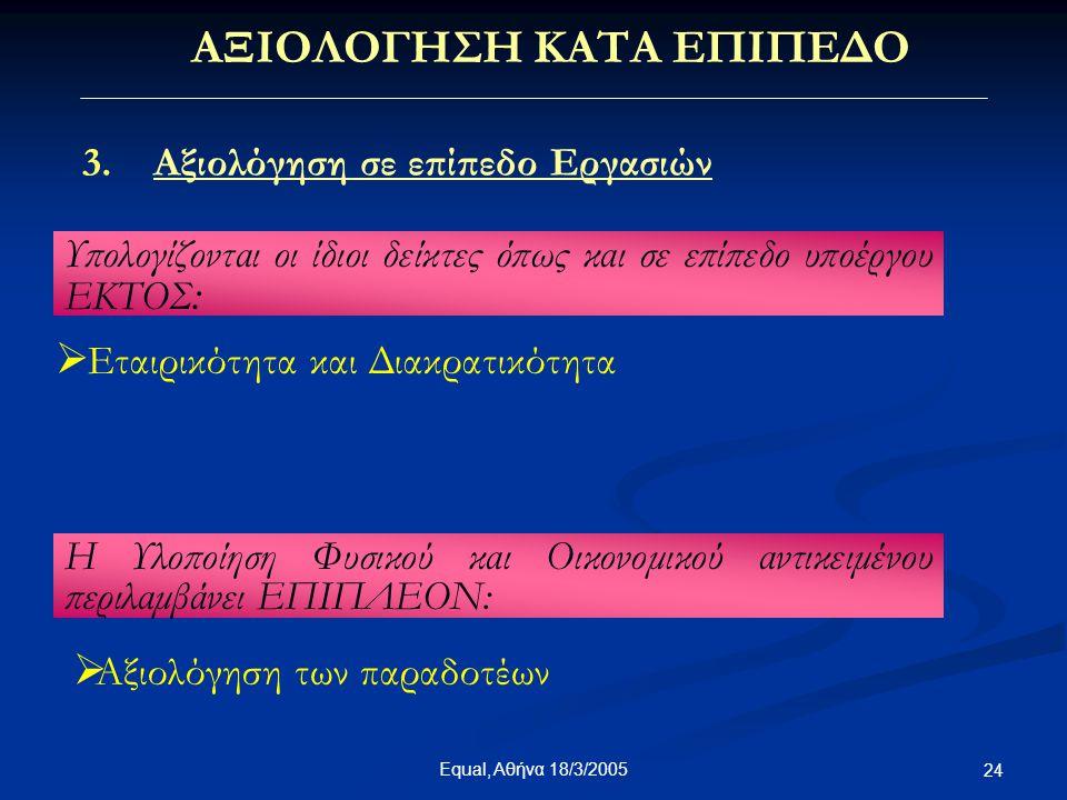 Equal, Αθήνα 18/3/2005 24 ΑΞΙΟΛΟΓΗΣΗ ΚΑΤΑ ΕΠΙΠΕΔΟ 3.Αξιολόγηση σε επίπεδο Εργασιών  Εταιρικότητα και Διακρατικότητα Υπολογίζονται οι ίδιοι δείκτες όπ