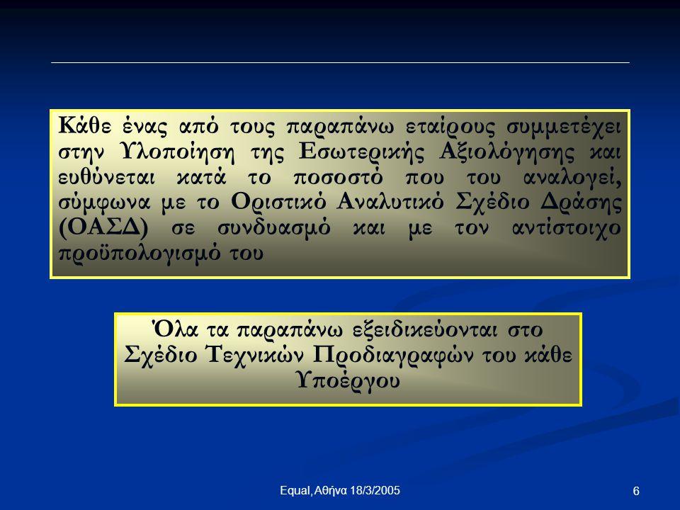 7Equal, Αθήνα 18/3/2005 Ειδικοί Στόχοι του Υποέργου  Αξιολόγηση των υποέργων 1, 2 και 3  Αξιολόγηση της υλοποίησης των προγραμμάτων κατάρτισης – απασχόλησης της δράσης των υποέργων 4, 5, 6 και 7  Συνεχής αξιολόγηση της πορείας των υποέργων 9 & 10  Αξιολόγηση του συστήματος συμβουλευτικής  Αξιολόγηση των ειδικών σχεδίων ανάπτυξης δεξιοτήτων ανθρώπινου δυναμικού  Αξιολόγηση του συστήματος εξ' αποστάσεως κατάρτισης  Αξιολόγηση της μεθοδολογίας, των εκπαιδευτικών προγραμμάτων και της πορείας της εξ αποστάσεως κατάρτισης και τηλεκατάρτισης  Αξιολόγηση της μεθοδολογίας και του συστήματος πιστοποίησης δεξιοτήτων  Αξιολόγηση των αποτελεσμάτων εφαρμογής των ανωτέρω συστημάτων, μεθοδολογιών και εκπαιδευτικών προγραμμάτων