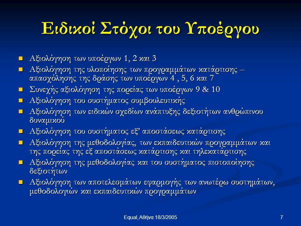 8Equal, Αθήνα 18/3/2005 Τελικό προϊόν του υποέργου  Τελική αξιολόγηση Υποέργου ανά θεματική ενότητα  Τελική Έκθεση Αξιολόγησης των χαρακτηριστικών, του βαθμού υιοθέτησης, των προοπτικών, των προβλημάτων και της αποτελεσματικότητας της εφαρμογής σύγχρονων και τεχνολογικά εξελιγμένων μηχανισμών κατάρτισης σε ΜΜΕ επιλεγμένων κλάδων