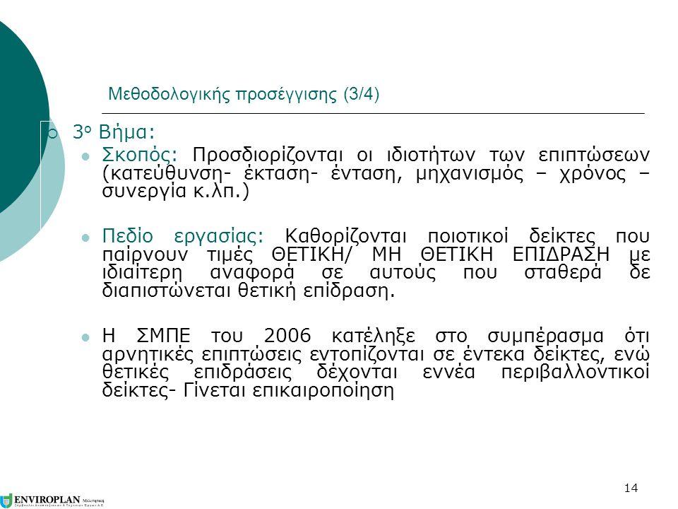 14 Μεθοδολογικής προσέγγισης (3/4)  3 ο Βήμα:  Σκοπός: Προσδιορίζονται οι ιδιοτήτων των επιπτώσεων (κατεύθυνση- έκταση- ένταση, μηχανισμός – χρόνος – συνεργία κ.λπ.)  Πεδίο εργασίας: Καθορίζονται ποιοτικοί δείκτες που παίρνουν τιμές ΘΕΤΙΚΗ/ ΜΗ ΘΕΤΙΚΗ ΕΠΙΔΡΑΣΗ με ιδιαίτερη αναφορά σε αυτούς που σταθερά δε διαπιστώνεται θετική επίδραση.