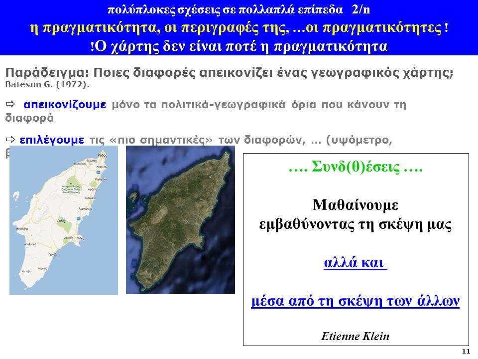 Ο χάρτης δεν είναι ποτέ η πραγματικότητα πολύπλοκες σχέσεις σε πολλαπλά επίπεδα 2/n η πραγματικότητα, οι περιγραφές της, … οι πραγματικότητες ! ! Ο χά
