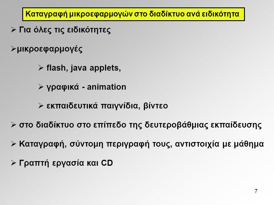 7  Για όλες τις ειδικότητες  μικροεφαρμογές  flash, java applets,  γραφικά - animation  εκπαιδευτικά παιγνίδια, βίντεο  στο διαδίκτυο στο επίπεδο της δευτεροβάθμιας εκπαίδευσης  Καταγραφή, σύντομη περιγραφή τους, αντιστοιχία με μάθημα  Γραπτή εργασία και CD Καταγραφή μικροεφαρμογών στο διαδίκτυο ανά ειδικότητα