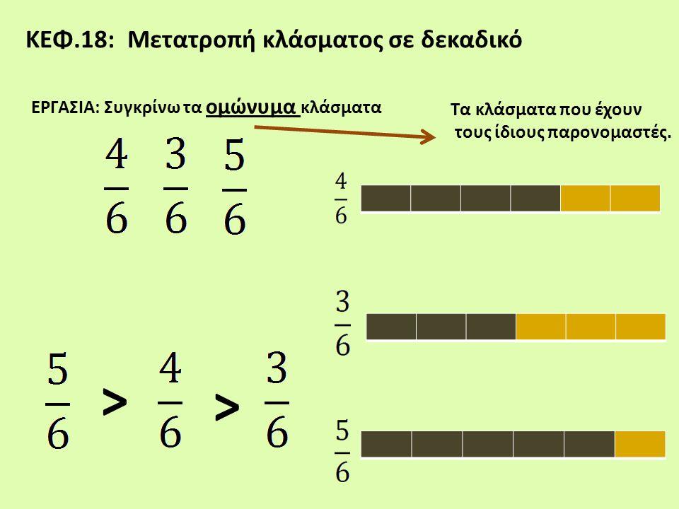 ΕΡΓΑΣΙΑ: Συγκρίνω τα ομώνυμα κλάσματα ΚΕΦ.18: Μετατροπή κλάσματος σε δεκαδικό Τα κλάσματα που έχουν τους ίδιους παρονομαστές. > >