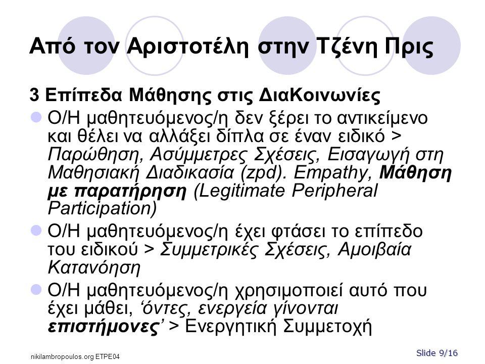 Slide 9/16 nikilambropoulos.org ΕΤPE04 Από τον Αριστοτέλη στην Τζένη Πρις 3 Επίπεδα Μάθησης στις ΔιαΚοινωνίες  Ο/Η μαθητευόμενος/η δεν ξέρει το αντικείμενο και θέλει να αλλάξει δίπλα σε έναν ειδικό > Παρώθηση, Ασύμμετρες Σχέσεις, Εισαγωγή στη Μαθησιακή Διαδικασία (zpd).