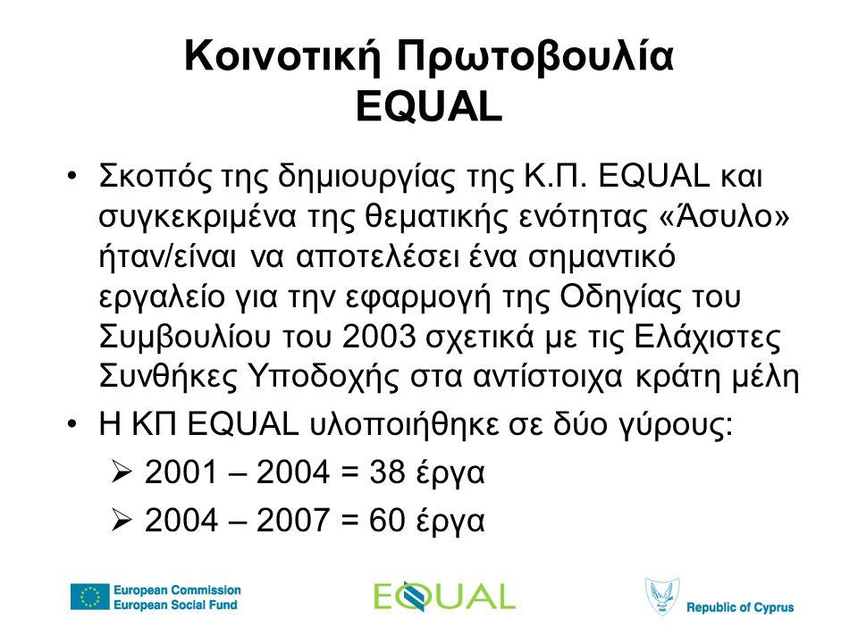 Κοινοτική Πρωτοβουλία EQUAL •Σκοπός της δημιουργίας της Κ.Π.