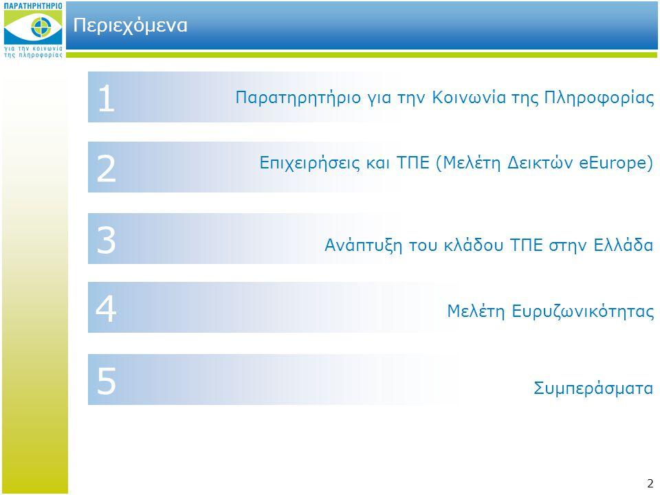 2 2 4 1 Περιεχόμενα Επιχειρήσεις και ΤΠΕ (Μελέτη Δεικτών eEurope) Παρατηρητήριο για την Κοινωνία της Πληροφορίας Συμπεράσματα 3 Μελέτη Ευρυζωνικότητας 5 Ανάπτυξη του κλάδου ΤΠΕ στην Ελλάδα