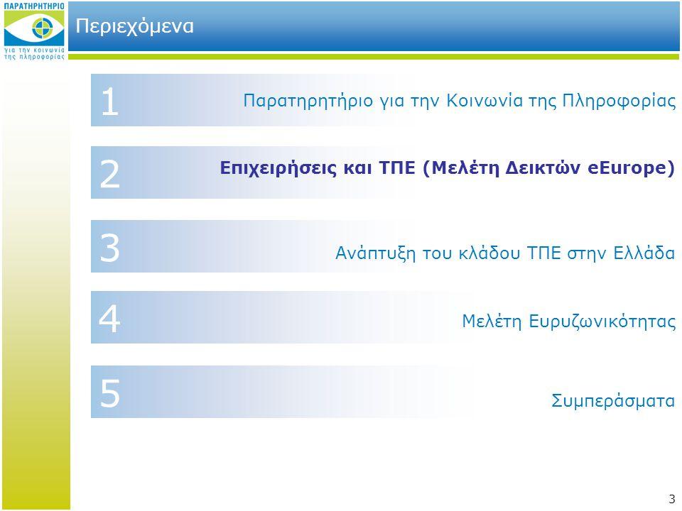 3 2 4 1 Περιεχόμενα Επιχειρήσεις και ΤΠΕ (Μελέτη Δεικτών eEurope) Παρατηρητήριο για την Κοινωνία της Πληροφορίας Συμπεράσματα 3 Μελέτη Ευρυζωνικότητας 5 Ανάπτυξη του κλάδου ΤΠΕ στην Ελλάδα