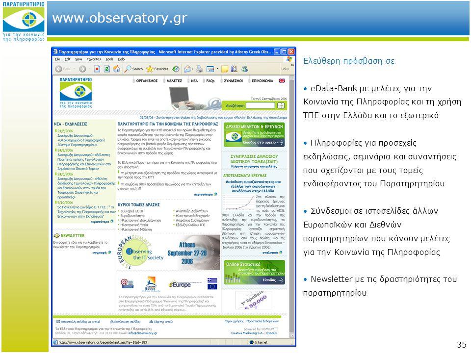 35 www.observatory.gr Ελεύθερη πρόσβαση σε • eData-Bank με μελέτες για την Κοινωνία της Πληροφορίας και τη χρήση ΤΠΕ στην Ελλάδα και το εξωτερικό • Πληροφορίες για προσεχείς εκδηλώσεις, σεμινάρια και συναντήσεις που σχετίζονται με τους τομείς ενδιαφέροντος του Παρατηρητηρίου • Σύνδεσμοι σε ιστοσελίδες άλλων Ευρωπαϊκών και Διεθνών παρατηρητηρίων που κάνουν μελέτες για την Κοινωνία της Πληροφορίας • Newsletter με τις δραστηριότητες του παρατηρητηρίου