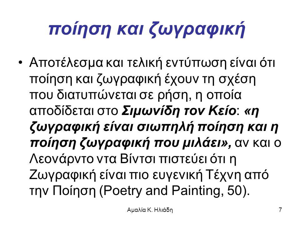 Αμαλία Κ. Ηλιάδη7 ποίηση και ζωγραφική •Αποτέλεσμα και τελική εντύπωση είναι ότι ποίηση και ζωγραφική έχουν τη σχέση που διατυπώνεται σε ρήση, η οποία