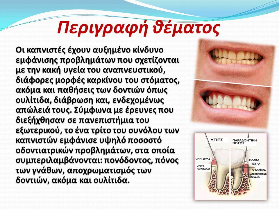 Περιγραφή θέματος Οι καπνιστές έχουν αυξημένο κίνδυνο εμφάνισης προβλημάτων που σχετίζονται με την κακή υγεία του αναπνευστικού, διάφορες μορφές καρκίνου του στόματος, ακόμα και παθήσεις των δοντιών όπως ουλίτιδα, διάβρωση και, ενδεχομένως απώλειά τους.