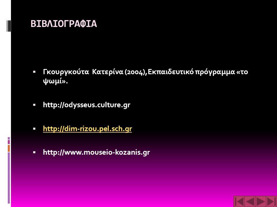 ΒΙΒΛΙΟΓΡΑΦΙΑ  Γκουργκούτα Κατερίνα (2004),Εκπαιδευτικό πρόγραμμα «το ψωμί».  http://odysseus.culture.gr  http://dim-rizou.pel.sch.gr http://dim-riz