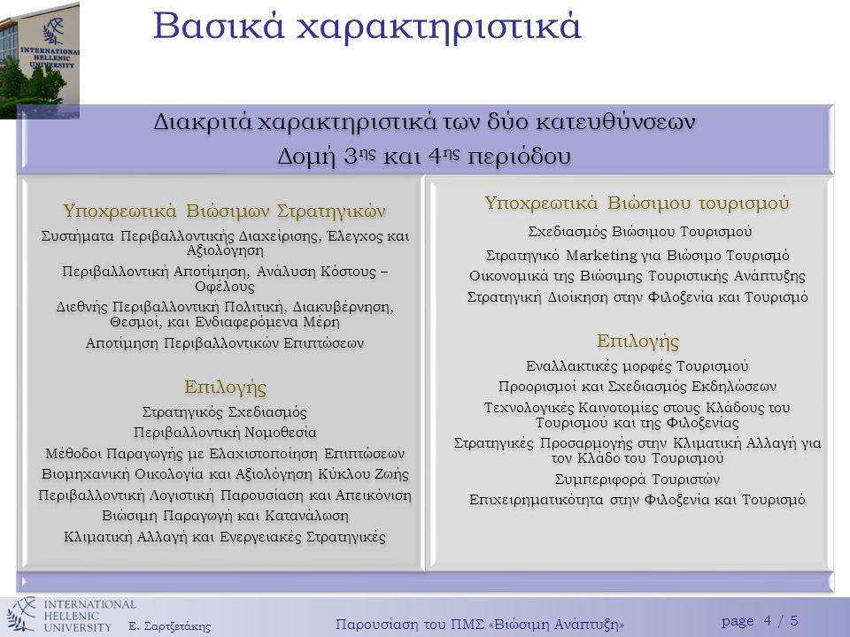 Το πρόγραμμα δίνει έμφαση Σύνδεση με πραγματικά προβλήματα (επιχειρήσεις οργανισμούς) Εμπέδωση της διεπιστημονι- κότητας Σταθερές ακαδημαϊκές βάσεις με έμφαση στα εργαλεία ανάλυσης και την μεθοδολογία Ε.