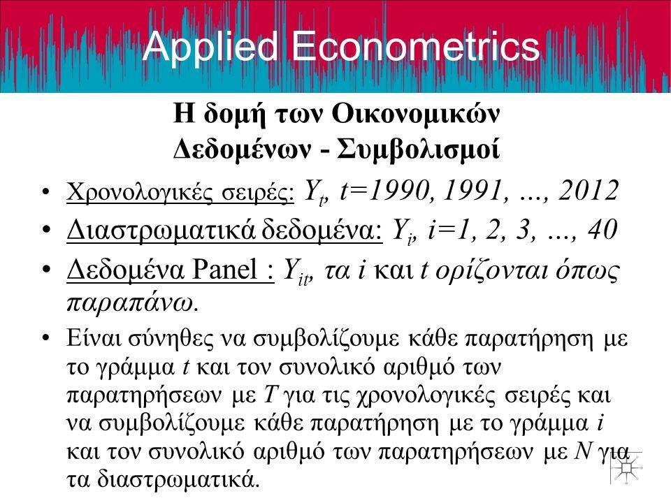 Applied Econometrics Η δομή των Οικονομικών Δεδομένων - Συμβολισμοί •Χρονολογικές σειρές: Y t, t=1990, 1991, …, 2012 •Διαστρωματικά δεδομένα: Y i, i=1, 2, 3, …, 40 •Δεδομένα Panel : Y it, τα i και t ορίζονται όπως παραπάνω.