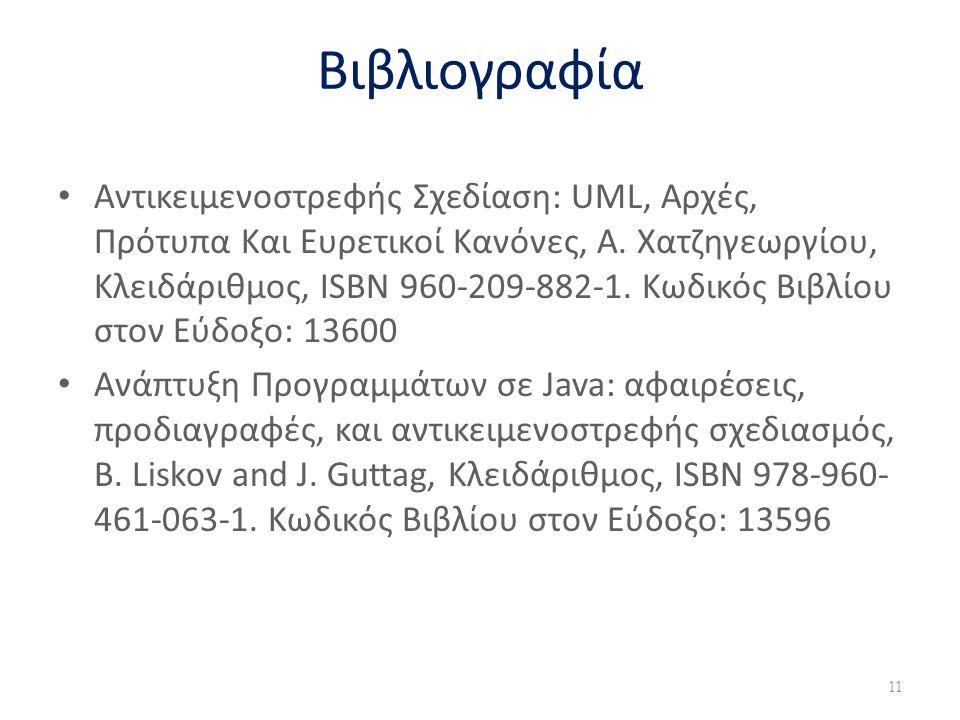 Βιβλιογραφία • Αντικειμενοστρεφής Σχεδίαση: UML, Αρχές, Πρότυπα Και Ευρετικοί Κανόνες, Α. Χατζηγεωργίου, Κλειδάριθμος, ISBN 960-209-882-1. Κωδικός Βιβ