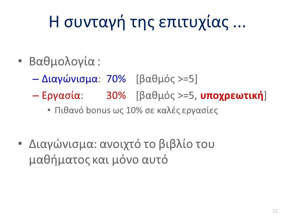 Η συνταγή της επιτυχίας... • Βαθμολογία : – Διαγώνισμα: 70% [βαθμός >=5] – Εργασία: 30% [βαθμός >=5, υποχρεωτική] • Πιθανό bonus ως 10% σε καλές εργασ