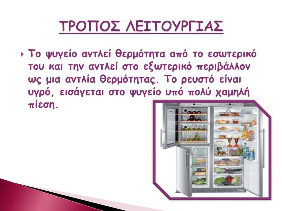  Τα πρώτα ''ψυγεία'' λειτουργούσαν με πάγο.Τον πάγο μπορούσες να τον αγοράσεις από τους παγοπώληδες  Το 1914 εφευρέθηκε από τον Nathaniel B. το ηλεκ