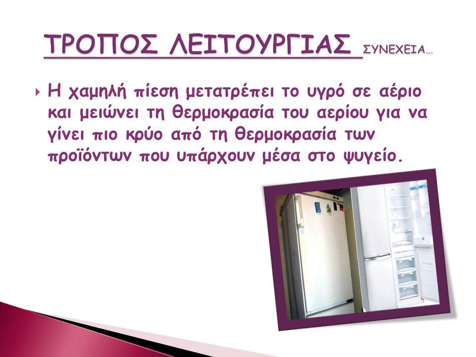  Το ψυγείο αντλεί θερμότητα από το εσωτερικό του και την αντλεί στο εξωτερικό περιβάλλον ως μια αντλία θερμότητας. Το ρευστό είναι υγρό, εισάγεται στ