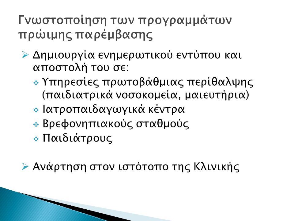  Δημιουργία ενημερωτικού εντύπου και αποστολή του σε:  Υπηρεσίες πρωτοβάθμιας περίθαλψης (παιδιατρικά νοσοκομεία, μαιευτήρια)  Ιατροπαιδαγωγικά κέν