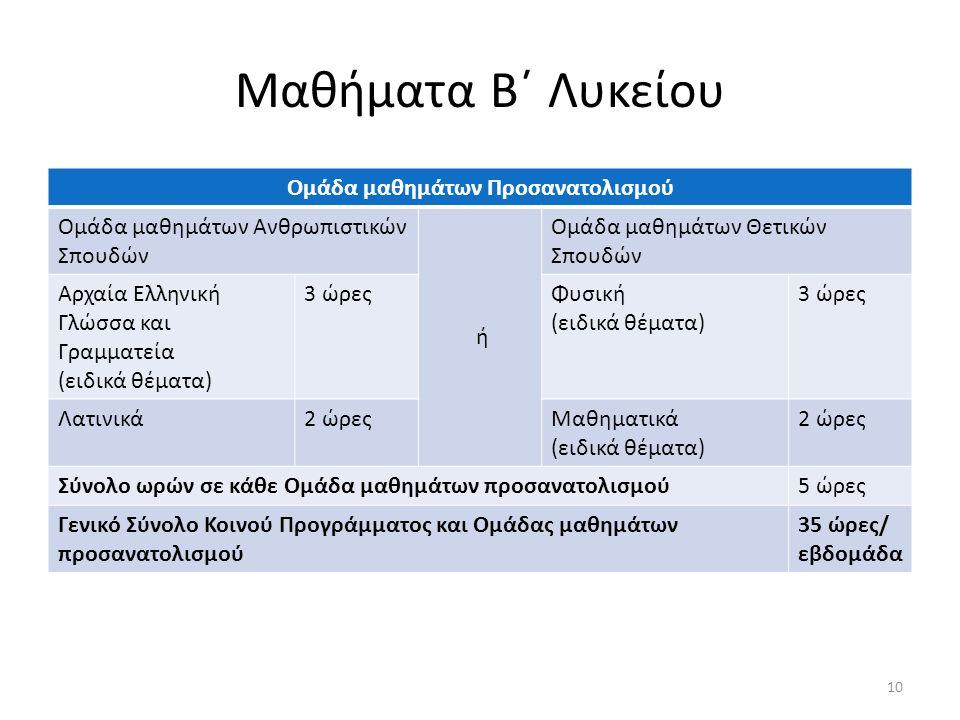 Μαθήματα Β΄ Λυκείου Ομάδα μαθημάτων Προσανατολισμού Ομάδα μαθημάτων Ανθρωπιστικών Σπουδών ή Ομάδα μαθημάτων Θετικών Σπουδών Αρχαία Ελληνική Γλώσσα και Γραμματεία (ειδικά θέματα) 3 ώρεςΦυσική (ειδικά θέματα) 3 ώρες Λατινικά2 ώρεςΜαθηματικά (ειδικά θέματα) 2 ώρες Σύνολο ωρών σε κάθε Ομάδα μαθημάτων προσανατολισμού5 ώρες Γενικό Σύνολο Κοινού Προγράμματος και Ομάδας μαθημάτων προσανατολισμού 35 ώρες/ εβδομάδα 10
