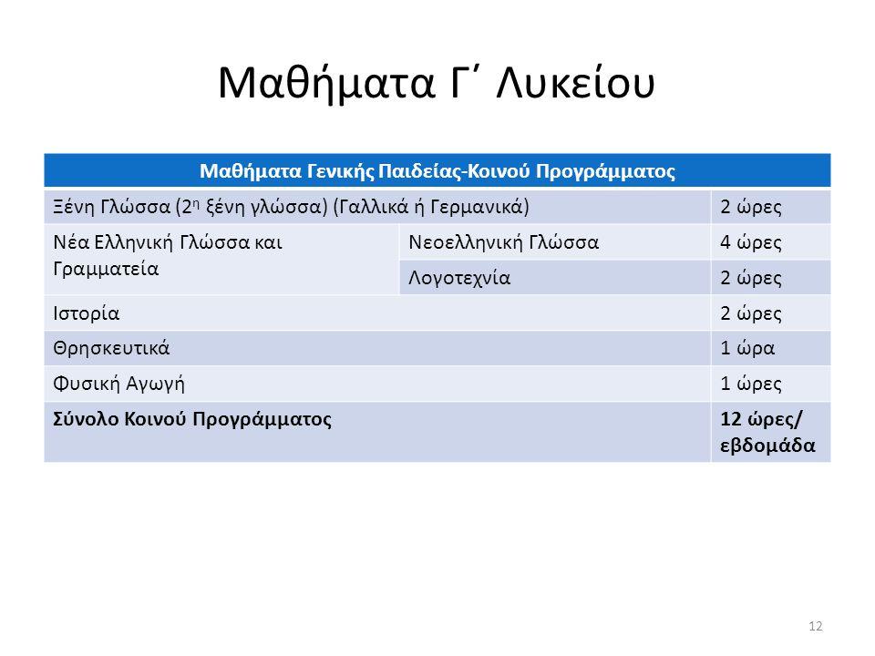 Μαθήματα Γ΄ Λυκείου Μαθήματα Γενικής Παιδείας-Κοινού Προγράμματος Ξένη Γλώσσα (2 η ξένη γλώσσα) (Γαλλικά ή Γερμανικά)2 ώρες Νέα Ελληνική Γλώσσα και Γραμματεία Νεοελληνική Γλώσσα4 ώρες Λογοτεχνία2 ώρες Ιστορία2 ώρες Θρησκευτικά1 ώρα Φυσική Αγωγή1 ώρες Σύνολο Κοινού Προγράμματος12 ώρες/ εβδομάδα 12