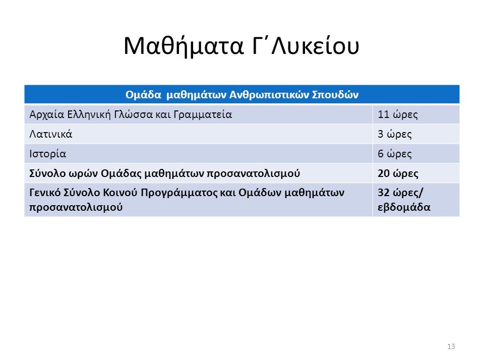 Μαθήματα Γ΄Λυκείου Ομάδα μαθημάτων Ανθρωπιστικών Σπουδών Αρχαία Ελληνική Γλώσσα και Γραμματεία11 ώρες Λατινικά3 ώρες Ιστορία6 ώρες Σύνολο ωρών Ομάδας μαθημάτων προσανατολισμού20 ώρες Γενικό Σύνολο Κοινού Προγράμματος και Ομάδων μαθημάτων προσανατολισμού 32 ώρες/ εβδομάδα 13