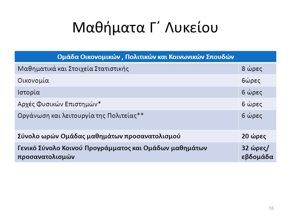 Μαθήματα Γ΄ Λυκείου Ομάδα Οικονομικών, Πολιτικών και Κοινωνικών Σπουδών Μαθηματικά και Στοιχεία Στατιστικής8 ώρες Οικονομία6ώρες Ιστορία6 ώρες Αρχές Φυσικών Επιστημών*6 ώρες Οργάνωση και λειτουργία της Πολιτείας**6 ώρες Σύνολο ωρών Ομάδας μαθημάτων προσανατολισμού20 ώρες Γενικό Σύνολο Κοινού Προγράμματος και Ομάδων μαθημάτων προσανατολισμών 32 ώρες/ εβδομάδα 16
