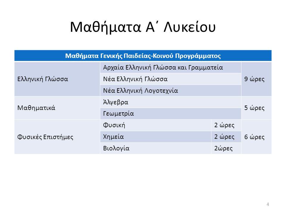 Μαθήματα Α΄ Λυκείου Μαθήματα Γενικής Παιδείας-Κοινού Προγράμματος Ελληνική Γλώσσα Αρχαία Ελληνική Γλώσσα και Γραμματεία 9 ώρες Νέα Ελληνική Γλώσσα Νέα Ελληνική Λογοτεχνία Μαθηματικά Άλγεβρα 5 ώρες Γεωμετρία Φυσικές Επιστήμες Φυσική2 ώρες 6 ώρες Χημεία2 ώρες Βιολογία2ώρες 4