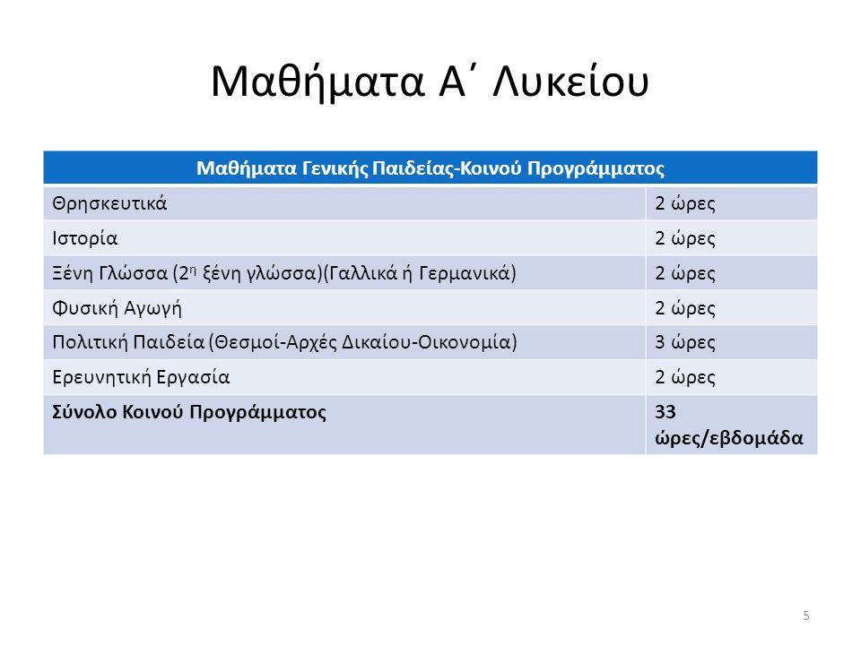 Μαθήματα Α΄ Λυκείου Μαθήματα Γενικής Παιδείας-Κοινού Προγράμματος Θρησκευτικά2 ώρες Ιστορία2 ώρες Ξένη Γλώσσα (2 η ξένη γλώσσα)(Γαλλικά ή Γερμανικά)2 ώρες Φυσική Αγωγή2 ώρες Πολιτική Παιδεία (Θεσμοί-Αρχές Δικαίου-Οικονομία)3 ώρες Ερευνητική Εργασία2 ώρες Σύνολο Κοινού Προγράμματος33 ώρες/εβδομάδα 5