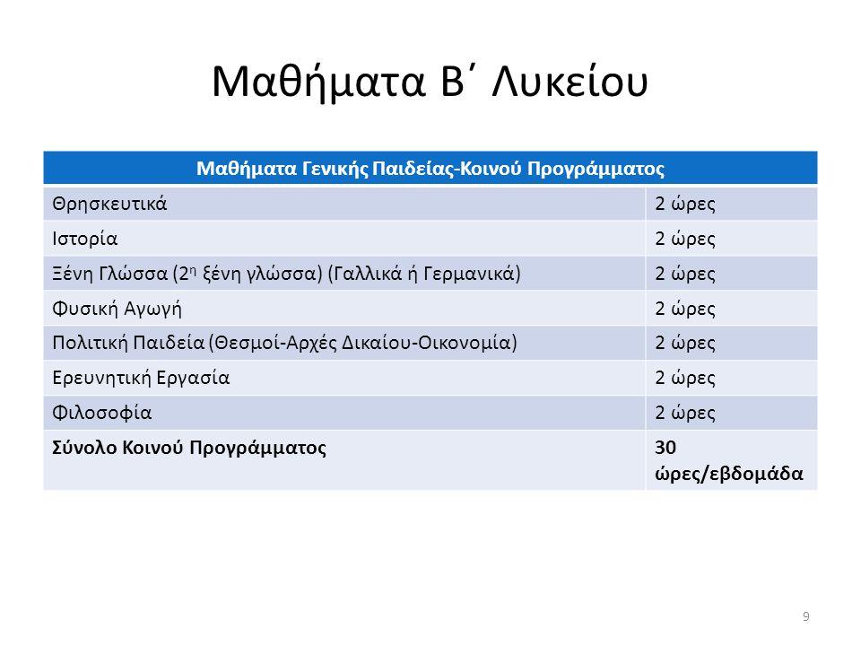 Μαθήματα Β΄ Λυκείου Μαθήματα Γενικής Παιδείας-Κοινού Προγράμματος Θρησκευτικά2 ώρες Ιστορία2 ώρες Ξένη Γλώσσα (2 η ξένη γλώσσα) (Γαλλικά ή Γερμανικά)2 ώρες Φυσική Αγωγή2 ώρες Πολιτική Παιδεία (Θεσμοί-Αρχές Δικαίου-Οικονομία)2 ώρες Ερευνητική Εργασία2 ώρες Φιλοσοφία2 ώρες Σύνολο Κοινού Προγράμματος30 ώρες/εβδομάδα 9
