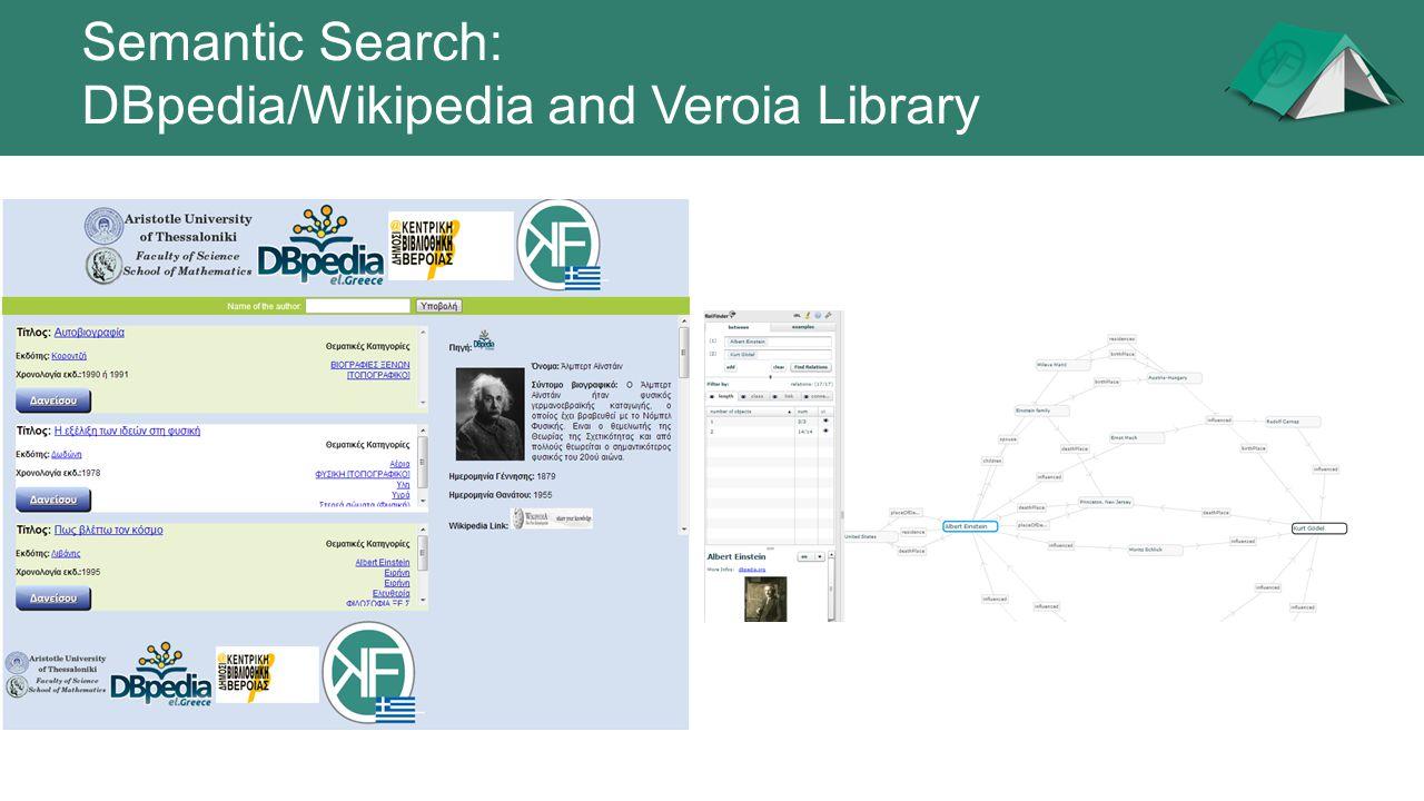 Semantic Search: DBpedia/Wikipedia and Veroia Library