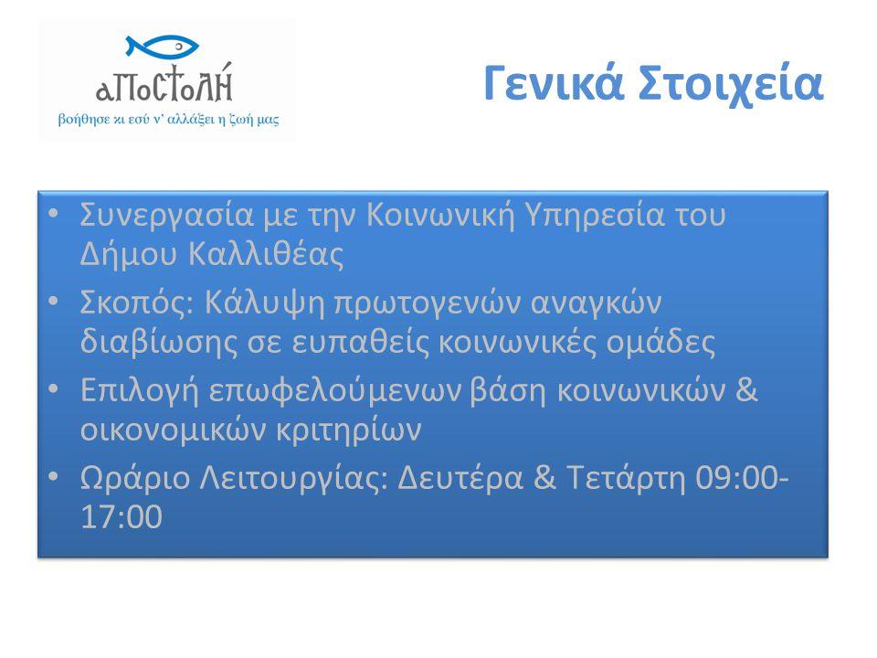 Γενικά Στοιχεία • Συνεργασία με την Κοινωνική Υπηρεσία του Δήμου Καλλιθέας • Σκοπός: Κάλυψη πρωτογενών αναγκών διαβίωσης σε ευπαθείς κοινωνικές ομάδες • Επιλογή επωφελούμενων βάση κοινωνικών & οικονομικών κριτηρίων • Ωράριο Λειτουργίας: Δευτέρα & Τετάρτη 09:00- 17:00 • Συνεργασία με την Κοινωνική Υπηρεσία του Δήμου Καλλιθέας • Σκοπός: Κάλυψη πρωτογενών αναγκών διαβίωσης σε ευπαθείς κοινωνικές ομάδες • Επιλογή επωφελούμενων βάση κοινωνικών & οικονομικών κριτηρίων • Ωράριο Λειτουργίας: Δευτέρα & Τετάρτη 09:00- 17:00