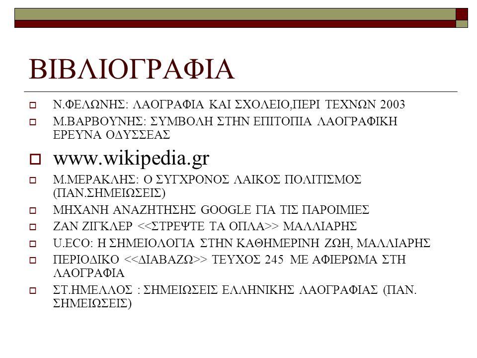 ΒΙΒΛΙΟΓΡΑΦΙΑ  Ν.ΦΕΛΩΝΗΣ: ΛΑΟΓΡΑΦΙΑ ΚΑΙ ΣΧΟΛΕΙΟ,ΠΕΡΙ ΤΕΧΝΩΝ 2003  Μ.ΒΑΡΒΟΥΝΗΣ: ΣΥΜΒΟΛΗ ΣΤΗΝ ΕΠΙΤΟΠΙΑ ΛΑΟΓΡΑΦΙΚΗ ΕΡΕΥΝΑ ΟΔΥΣΣΕΑΣ  www.wikipedia.gr  Μ.ΜΕΡΑΚΛΗΣ: Ο ΣΥΓΧΡΟΝΟΣ ΛΑΙΚΟΣ ΠΟΛΙΤΙΣΜΟΣ (ΠΑΝ.ΣΗΜΕΙΩΣΕΙΣ)  ΜΗΧΑΝΗ ΑΝΑΖΗΤΗΣΗΣ GOOGLE ΓΙΑ ΤΙΣ ΠΑΡΟΙΜΙΕΣ  ΖΑΝ ΖΙΓΚΛΕΡ > ΜΑΛΛΙΑΡΗΣ  U.ECO: Η ΣΗΜΕΙΟΛΟΓΙΑ ΣΤΗΝ ΚΑΘΗΜΕΡΙΝΗ ΖΩΗ, ΜΑΛΛΙΑΡΗΣ  ΠΕΡΙΟΔΙΚΟ > ΤΕΥΧΟΣ 245 ΜΕ ΑΦΙΕΡΩΜΑ ΣΤΗ ΛΑΟΓΡΑΦΙΑ  ΣΤ.ΗΜΕΛΛΟΣ : ΣΗΜΕΙΩΣΕΙΣ ΕΛΛΗΝΙΚΗΣ ΛΑΟΓΡΑΦΙΑΣ (ΠΑΝ.