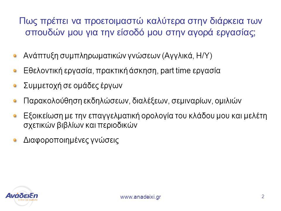www.anadeixi.gr 2 Πως πρέπει να προετοιμαστώ καλύτερα στην διάρκεια των σπουδών μου για την είσοδό μου στην αγορά εργασίας; Ανάπτυξη συμπληρωματικών γνώσεων (Αγγλικά, Η/Υ) Εθελοντική εργασία, πρακτική άσκηση, part time εργασία Συμμετοχή σε ομάδες έργων Παρακολούθηση εκδηλώσεων, διαλέξεων, σεμιναρίων, ομιλιών Εξοικείωση με την επαγγελματική ορολογία του κλάδου μου και μελέτη σχετικών βιβλίων και περιοδικών Διαφοροποιημένες γνώσεις