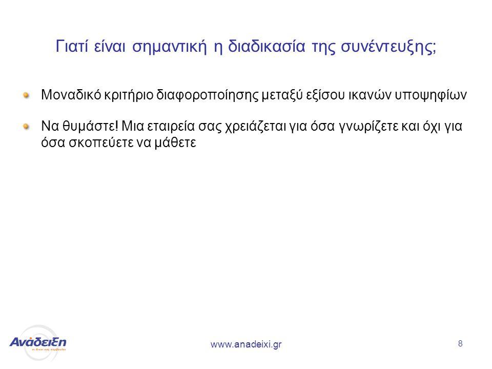 www.anadeixi.gr 8 Γιατί είναι σημαντική η διαδικασία της συνέντευξης; Μοναδικό κριτήριο διαφοροποίησης μεταξύ εξίσου ικανών υποψηφίων Να θυμάστε.