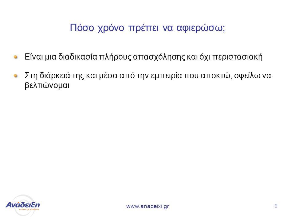 www.anadeixi.gr 9 Πόσο χρόνο πρέπει να αφιερώσω; Είναι μια διαδικασία πλήρους απασχόλησης και όχι περιστασιακή Στη διάρκειά της και μέσα από την εμπειρία που αποκτώ, οφείλω να βελτιώνομαι
