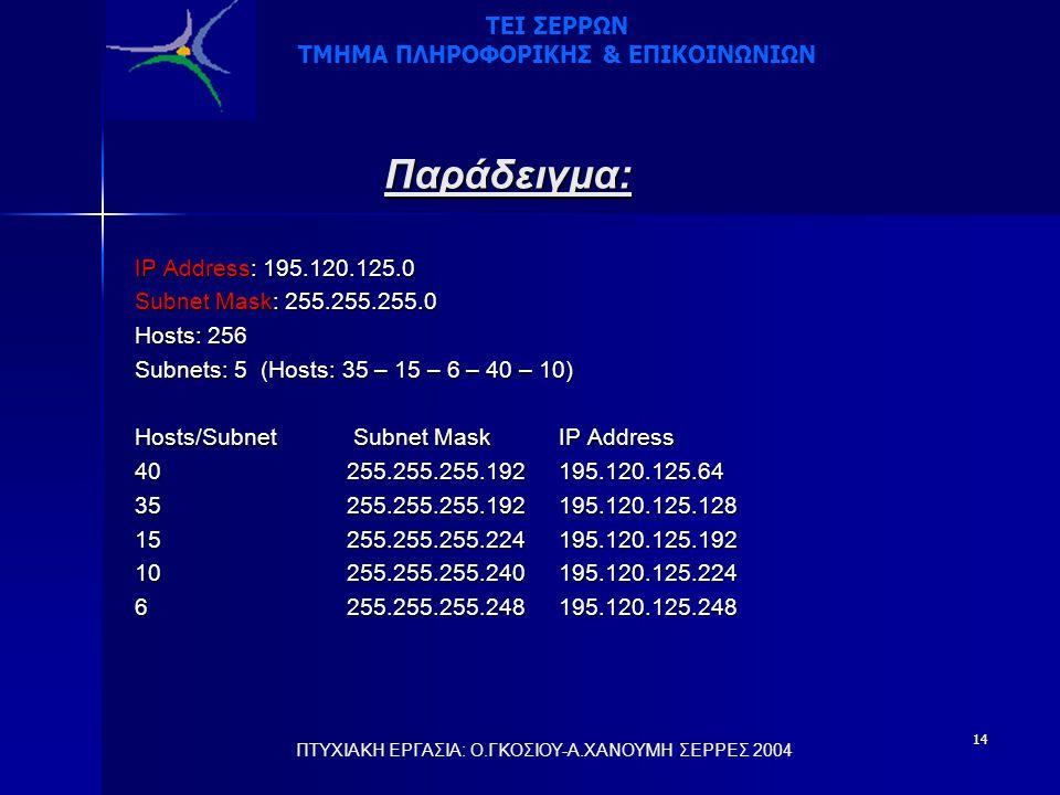 14 Παράδειγμα: IP Address: 195.120.125.0 Subnet Mask: 255.255.255.0 Hosts: 256 Subnets: 5 (Hosts: 35 – 15 – 6 – 40 – 10) Hosts/Subnet Subnet Mask IP Address 40255.255.255.192195.120.125.64 35255.255.255.192195.120.125.128 15255.255.255.224195.120.125.192 10255.255.255.240195.120.125.224 6255.255.255.248195.120.125.248 ΠΤΥΧΙΑΚΗ ΕΡΓΑΣΙΑ: Ο.ΓΚΟΣΙΟΥ-Α.ΧΑΝΟΥΜΗ ΣΕΡΡΕΣ 2004 ΤΕΙ ΣΕΡΡΩΝ ΤΜΗΜΑ ΠΛΗΡΟΦΟΡΙΚΗΣ & ΕΠΙΚΟΙΝΩΝΙΩΝ