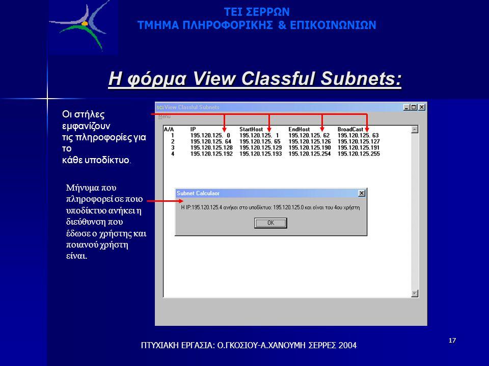 17 Η φόρμα View Classful Subnets: Οι στήλες εμφανίζουν τις πληροφορίες για το κάθε υποδίκτυο.