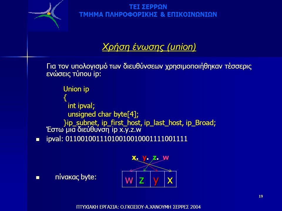19 Χρήση ένωσης (union) Για τον υπολογισμό των διευθύνσεων χρησιμοποιήθηκαν τέσσερις ενώσεις τύπου ip: Για τον υπολογισμό των διευθύνσεων χρησιμοποιήθηκαν τέσσερις ενώσεις τύπου ip: Έστω μια διεύθυνση ip x.y.z.w  ipval: 01100100111010010010001111001111 x.