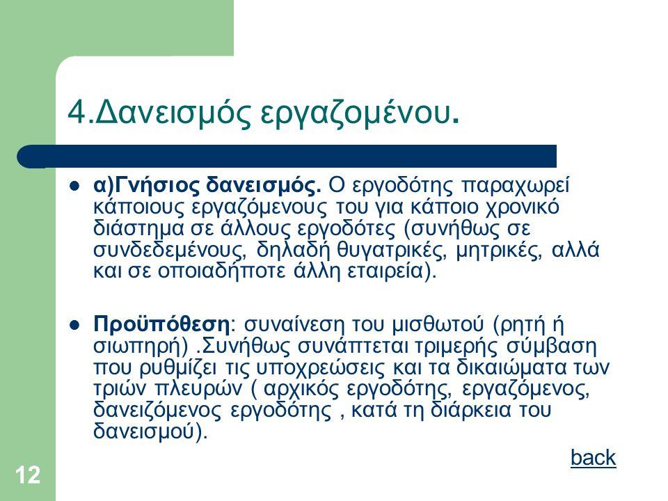 12 4.Δανεισμός εργαζομένου.  α)Γνήσιος δανεισμός. Ο εργοδότης παραχωρεί κάποιους εργαζόμενους του για κάποιο χρονικό διάστημα σε άλλους εργοδότες (συ