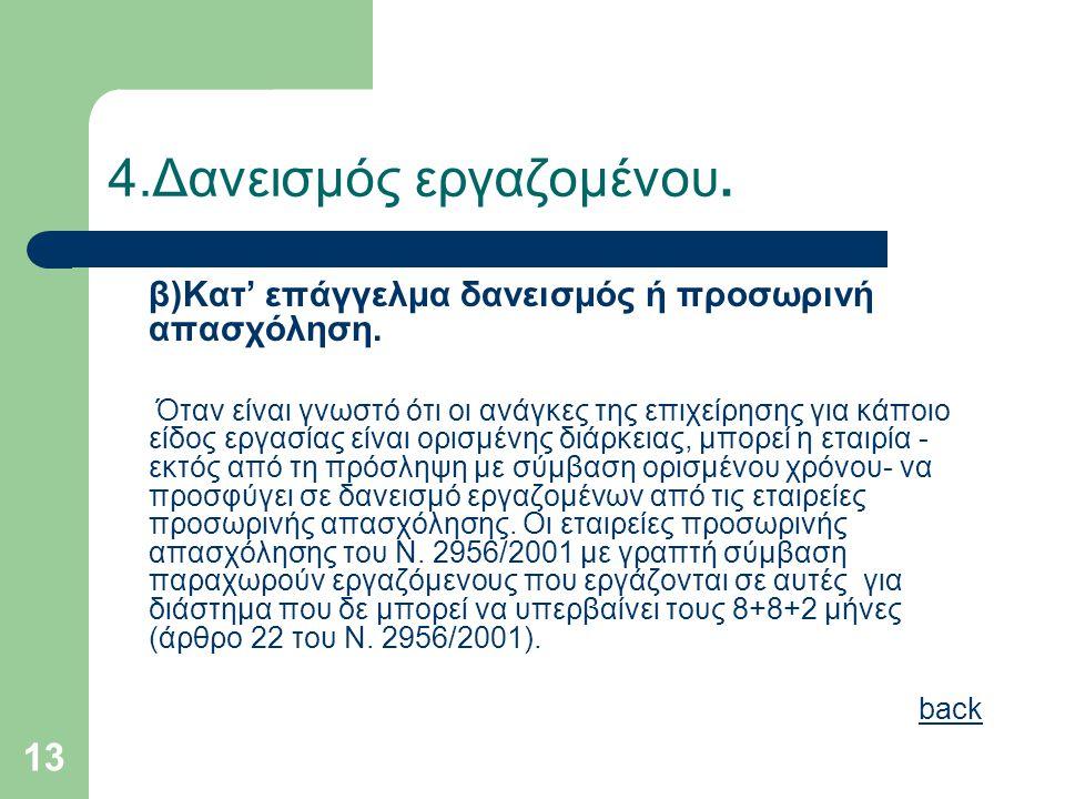 13 4.Δανεισμός εργαζομένου. β)Κατ' επάγγελμα δανεισμός ή προσωρινή απασχόληση. Όταν είναι γνωστό ότι οι ανάγκες της επιχείρησης για κάποιο είδος εργασ