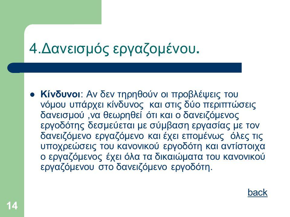 14 4.Δανεισμός εργαζομένου.  Κίνδυνοι: Αν δεν τηρηθούν οι προβλέψεις του νόμου υπάρχει κίνδυνος και στις δύο περιπτώσεις δανεισμού,να θεωρηθεί ότι κα