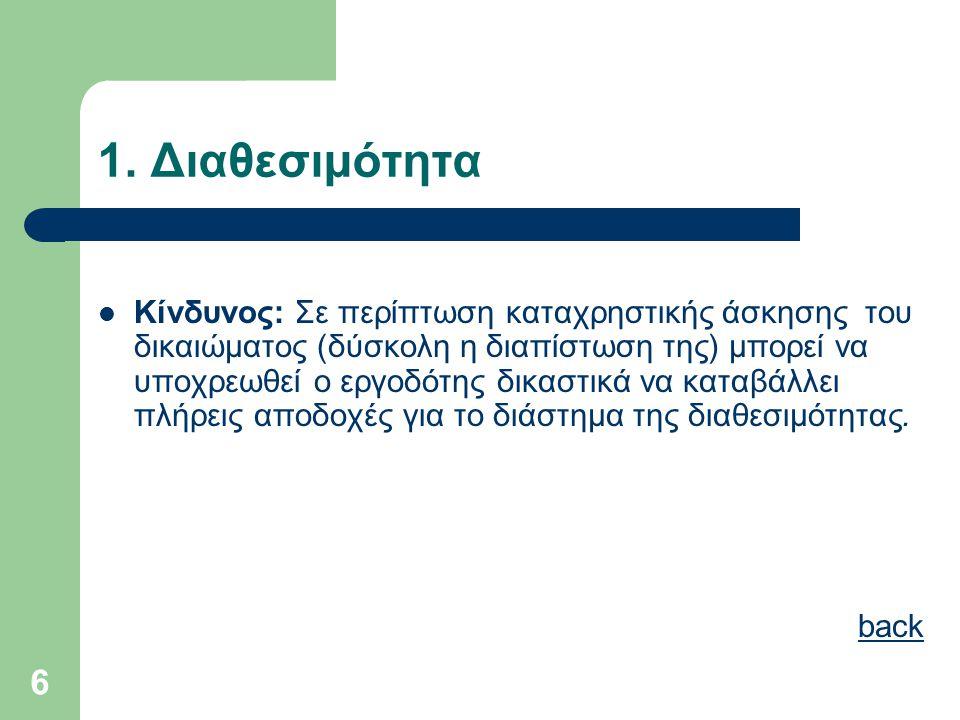 6 1. Διαθεσιμότητα  Κίνδυνος: Σε περίπτωση καταχρηστικής άσκησης του δικαιώματος (δύσκολη η διαπίστωση της) μπορεί να υποχρεωθεί ο εργοδότης δικαστικ