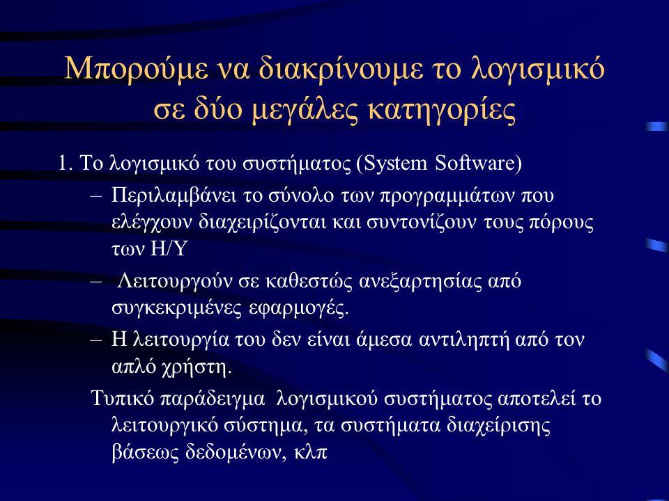 Μπορούμε να διακρίνουμε το λογισμικό σε δύο μεγάλες κατηγορίες 1. Το λογισμικό του συστήματος (System Software) –Περιλαμβάνει το σύνολο των προγραμμάτ