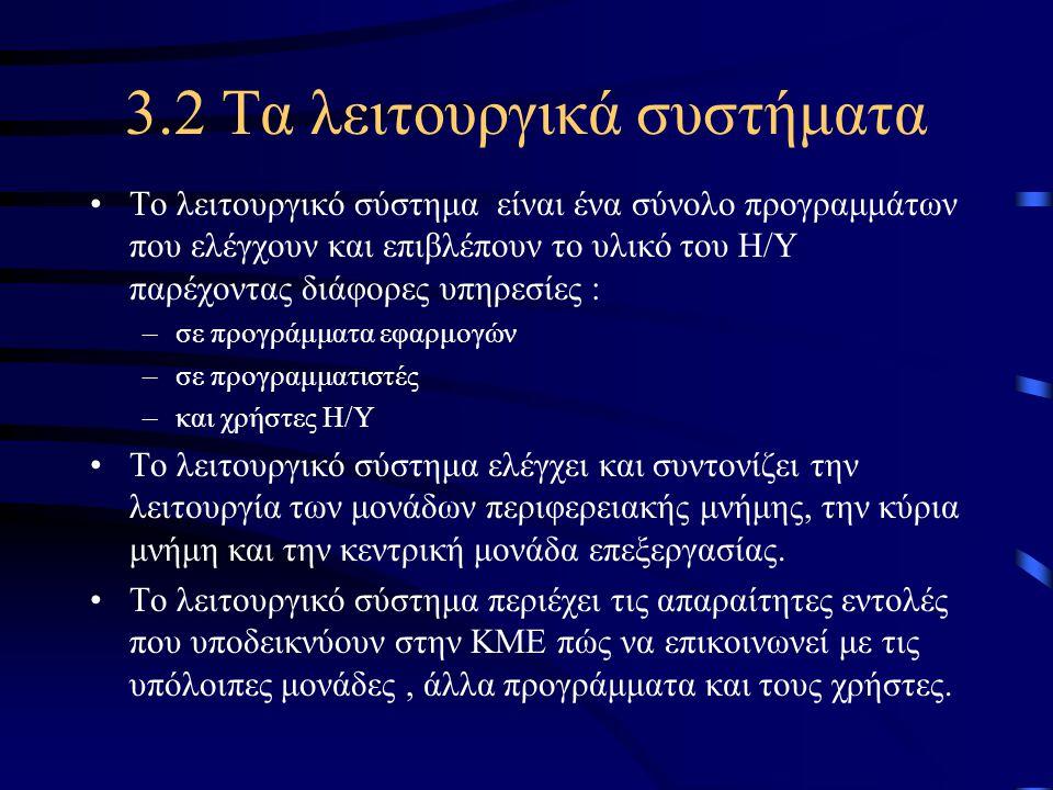 3.2 Τα λειτουργικά συστήματα •Το λειτουργικό σύστημα είναι ένα σύνολο προγραμμάτων που ελέγχουν και επιβλέπουν το υλικό του Η/Υ παρέχοντας διάφορες υπ